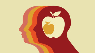 silhouette of person with apple in head