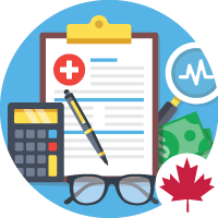 clipboard with medical cross, pen, calculator, glasses, money, pulse, magnifying glass