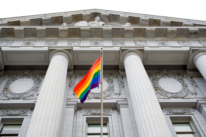 image of pride flag at city hall